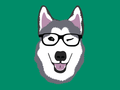 Husky Hipster illustration first shot logo