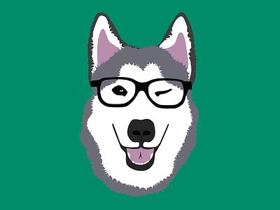 Husky Hipster illustration first shot logo
