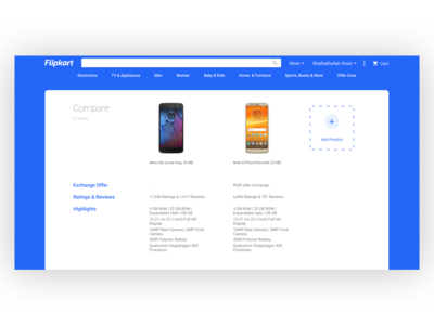 Flipkart product compare redesign