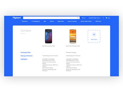 Flipkart product compare redesign design website flat vector branding minimal ux ui figma