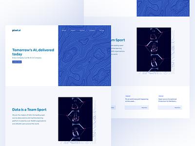AI startup landing page website ui flat design vector minimal figma