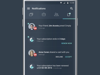 Cimply - notifications