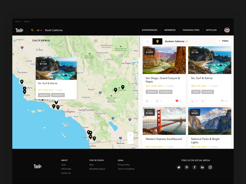 TWIP - map view website view trip travel tooltip social search pin photos map info cards