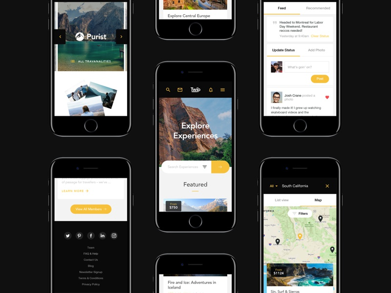 TWIP - mobile screens web travel search photo network map footer feed explore discover booking app