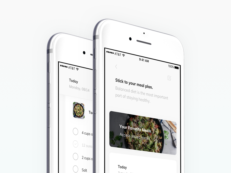 TNLC - meal plans mobile ios ux ui card checklist list shopping food meal health fitness