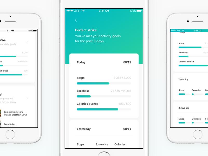 TNLC - activity goals score track data goal card timeline app bar progress fitness health ios