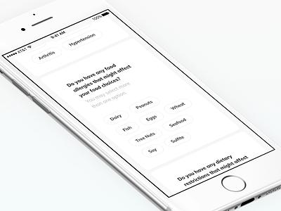 TNLC - dietary survey mobile tags form data ux quizz survey quiz plan meal dietary diet ios health card app