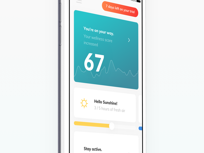 TNLC - dashboard upgrade tracker stats statistics score mobile layout information architecture information health app graph data chart fitness ios card health app