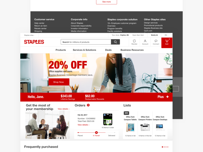 Staples.com - desktop hero footer product homepage website web supplies store shopping responsive online office navigation desktop grid ecommerce