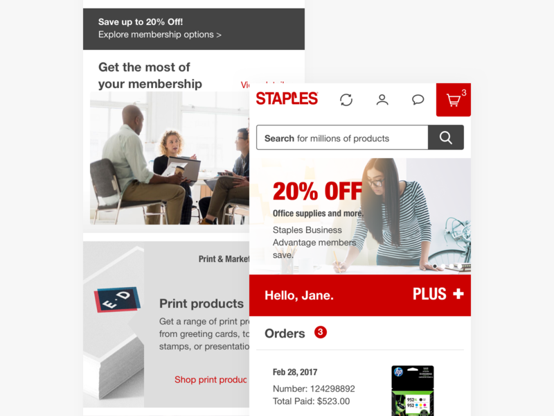 Staples.com - mobile user member order website web store shopping responsive product online office search menu cart navigation homepage hero grid mobile ecommerce