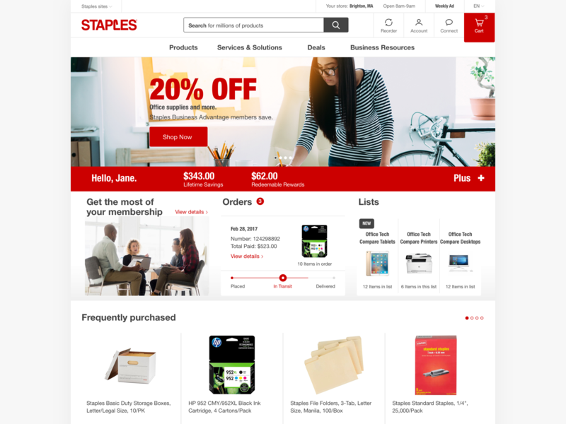 Staples.com - desktop homepage wcag accessible web shopping responsive store product online supplies office navigation page landing homepage hero grid ecommerce desktop website