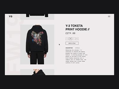 Y-3 Product Page - Animation fashion fashion website clothing image animation slider layout typography adidas y3 webdesign web design animation interaction after effects ecommerce website ui ux