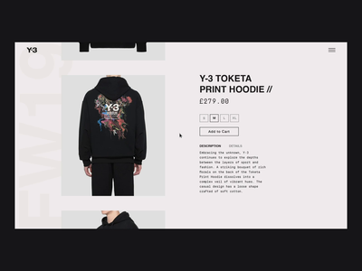 Y-3 Product Page - Animation