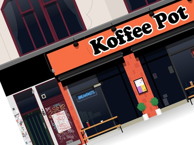 Koffee Pot store bloody mary coffee shop vector print poster neon sign illustrator illustration music graffiti building illustration architecture oldham street manchester northern quarter cafe breakfast coffee koffee pot
