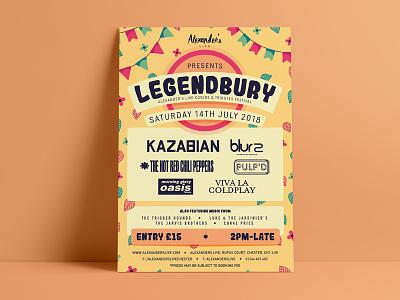Legendbury vector illustration typography leaves flowers party garden festival tribute design poster