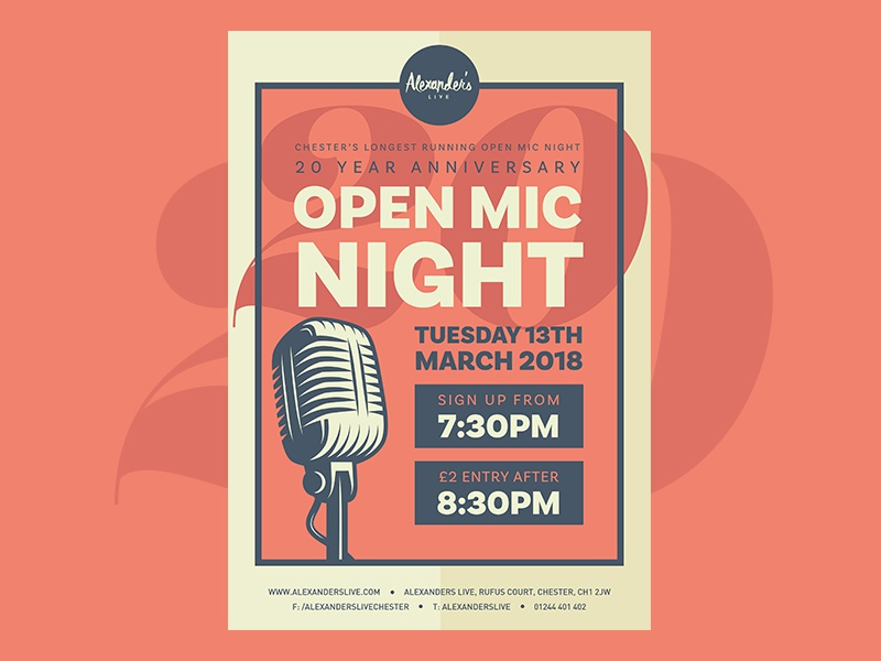 Open Mic Night 20th Anniversary illustration venue brand open mic night microphone vector print music event flyer design poster