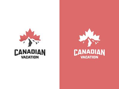 Canadian Vacation flag canadian vacation maple leaf maple mountains canada illustrator illustration vector brand logomark logo
