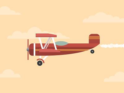 Plane vector illustrator illustration icon propeller clouds cockpit pilot flight transport fly plane