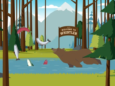 Salmon Run game illustration vancouver whistler mountains trees forest woods canada bear fish salmon