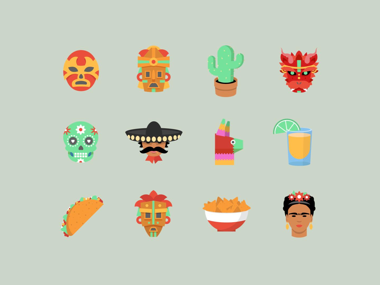 Mexicana avatars vector stickers pinata mariachi nachos taco mask dayofthedead tequila fridakahlo cactus luchador mayan avatars illustration mexico