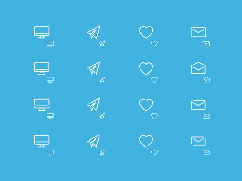Icon Concepts icon design letter paper plane paper airplane mac imac envelope heart sent email design design agency email healthcare icon ui brand design illustrator vector illustration