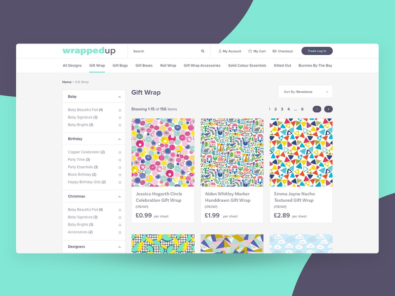 Wrapped Up - Product Grid UI brand ecommerce design web design product grid filter sidebar online store online shop ux ui pattern website product page wrapping paper ecommerce