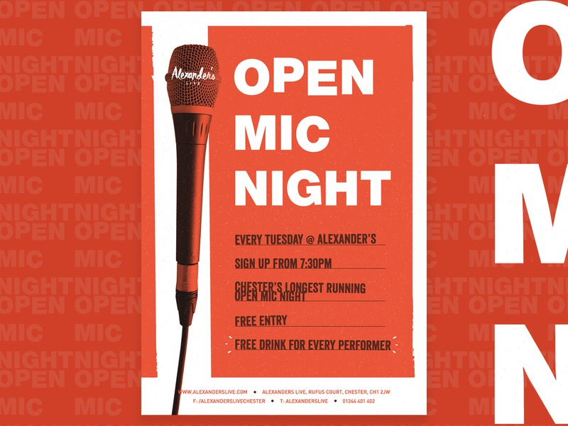 Open Mic Night orange typography type performance acoustic texture nightlife music poster venue vector print poster open mic night music microphone illustration flyer event design brand