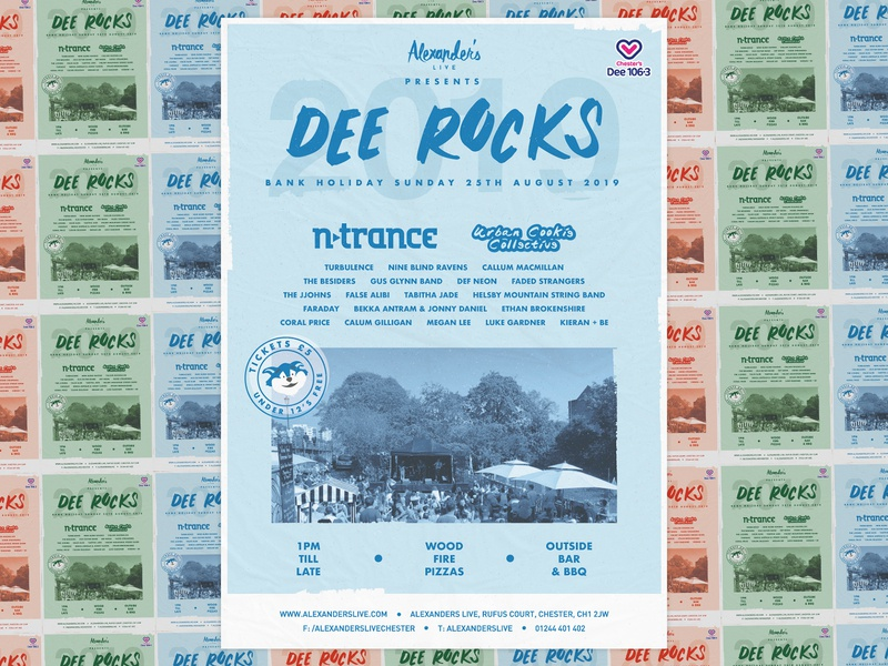 Dee Rocks 2019 blue ntrance dance venue vector typography texture print poster music logo illustration illustrator flyer event design celebration brand beer garden