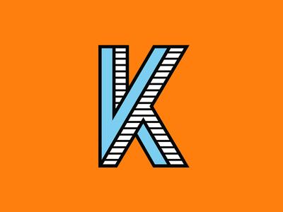 K k vector typography type texture stripes stripe illusion orange logomark logo lettering letter illustrator illustration icon design depth brand 36daysoftype