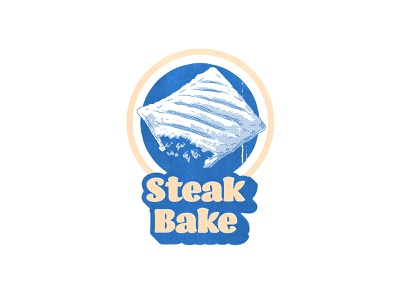 Steak Bake stamp half tone retro bake steak pasty pastry steak bake greggs food illustration drawing icon typography logo texture poster design illustrator vector illustration