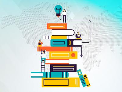 llustration01 art vectorart illustration illustrator world readers people study books education