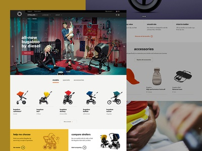 Bugaboo product overview strollers overview pdp product interface bugaboo website ui