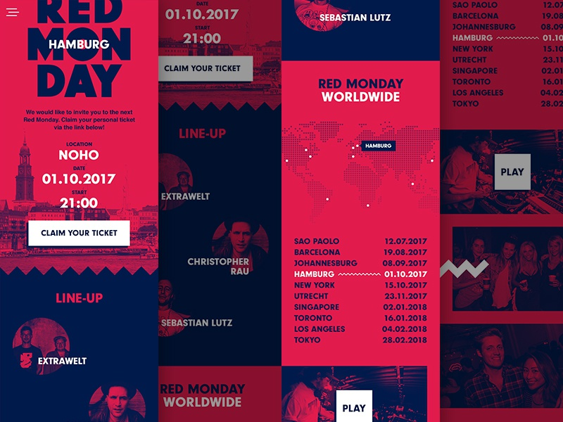 Red Monday Concept red bull rsvp event lineup cities party website design ui mobile