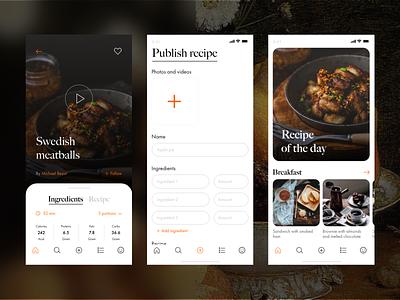 Free UX/UI kit : Recipe app kit free form publish food app food ui app design ux app
