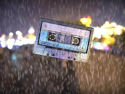 Cassette Render cassette player night scene rain keyshot render design tape cassette