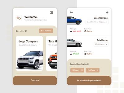 Car Comparison App UI Design typography devbez clean modern ux design comparison ui car