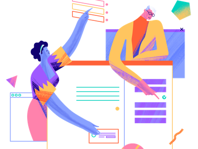 UNBABEL - FAQS geometry diversity colors character faqs language layout characterdesign app
