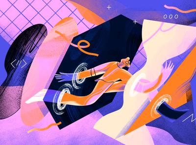 SUPER HI! - Freelancer #1 shapes illustration character app freelancer virtual reality virtual world