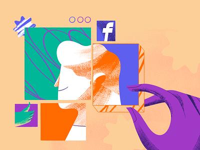 Facebook Settings character design website illustration digital online