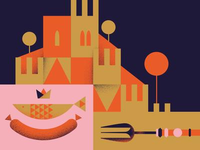 Magna Manjua saussage fork trees castle medieval lisbon sardine illustration