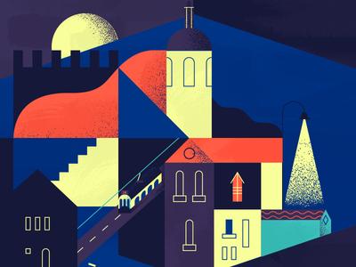 Lisbon by Night seven hills buildings houses moon illustration castle tram night city lisbon
