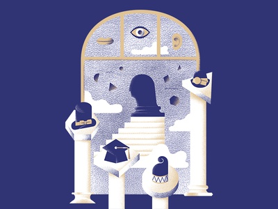 The Gateway to the Realm of Thoughts cloud stairs column mouth ear eye hat bust museum mind thought book