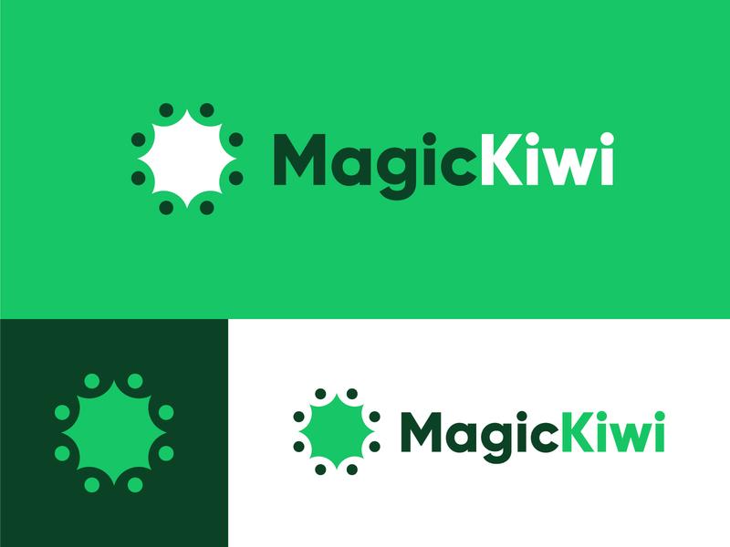 Magic Kiwi minimalist logo minimalist minimal visual identity design digital green magic kiwi magic kiwi visual identity symbol branding logodesign design icon design vector graphic logo vector graphic graphic design