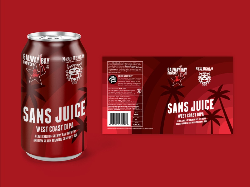 Sans Juice beer label vector graphic illustration california west coast west red sunset palm trees palm tree palmtree palm layout label design label beer label beer can graphic design