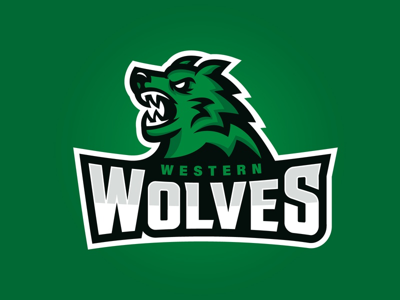 Western Wolves Logo angry west green sport logo team logo vector branding illustration logo design logo sports logo wolf sports mascot mascot sports irish rugby ireland touch rugby rugby