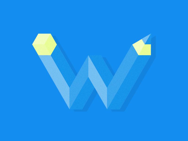W(eird) pencil 3d 3d letter vector graphic vector typehue w type pencil letter graphic design graphic