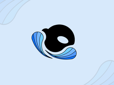 Orca Logo circle eye cute rainbow black logo animal swirl blue colour uk edinburgh whale orca design