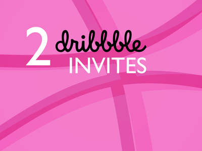 Two Dribbble invites two pink invite dribbbleinvites logo twoinvites dribbble invites