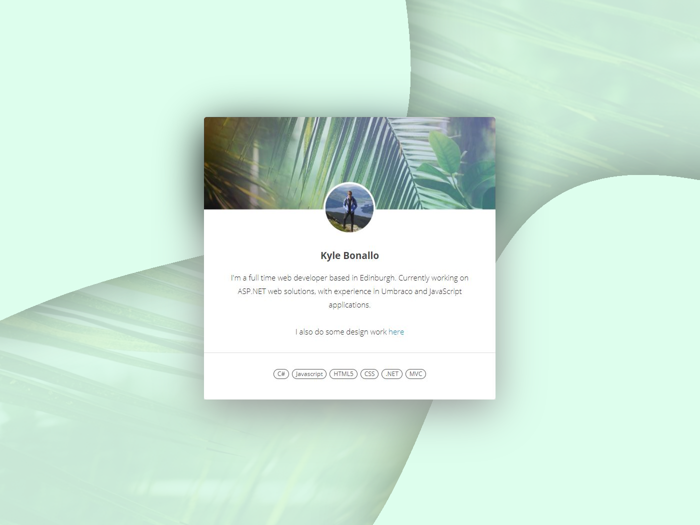 Profile Card scotland mint green user illustration gradient circle graphic design edinburgh profile card profile