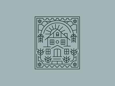 N•2 House illustration postcard house illustration logo design brewer house vector illustraion branding logo